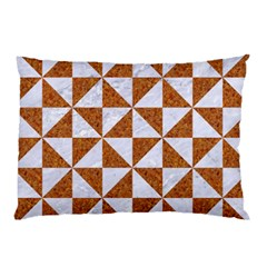 Triangle1 White Marble & Rusted Metal Pillow Case (two Sides)