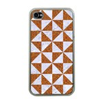 TRIANGLE1 WHITE MARBLE & RUSTED METAL Apple iPhone 4 Case (Clear) Front