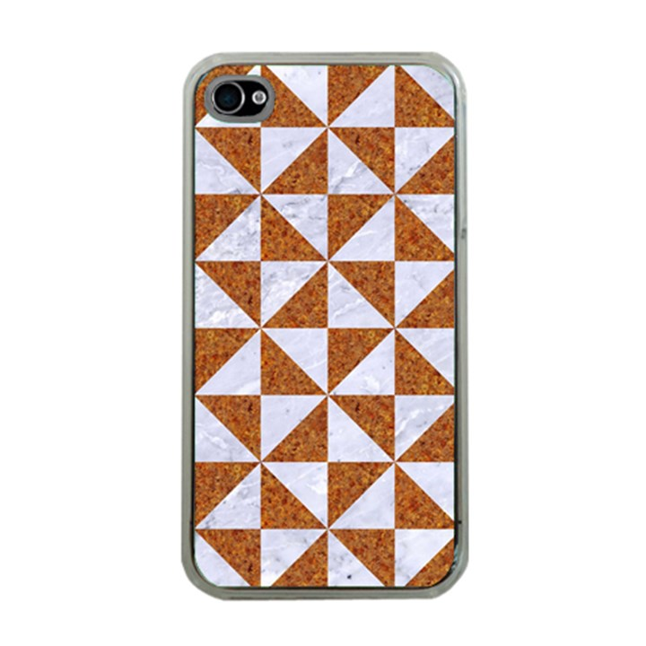 TRIANGLE1 WHITE MARBLE & RUSTED METAL Apple iPhone 4 Case (Clear)