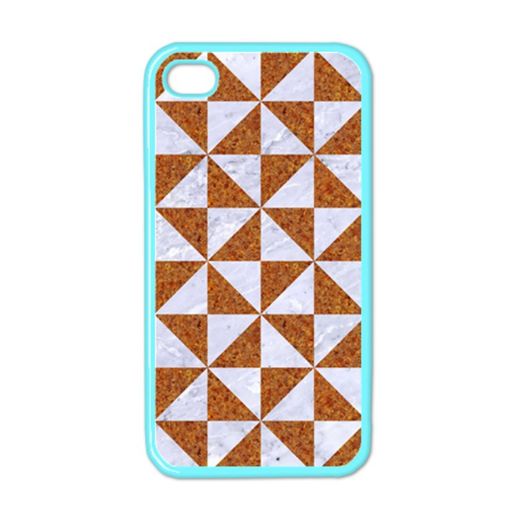 TRIANGLE1 WHITE MARBLE & RUSTED METAL Apple iPhone 4 Case (Color)
