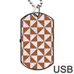 TRIANGLE1 WHITE MARBLE & RUSTED METAL Dog Tag USB Flash (One Side) Front