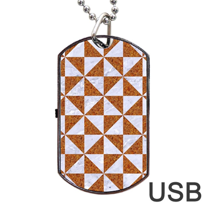 TRIANGLE1 WHITE MARBLE & RUSTED METAL Dog Tag USB Flash (Two Sides)
