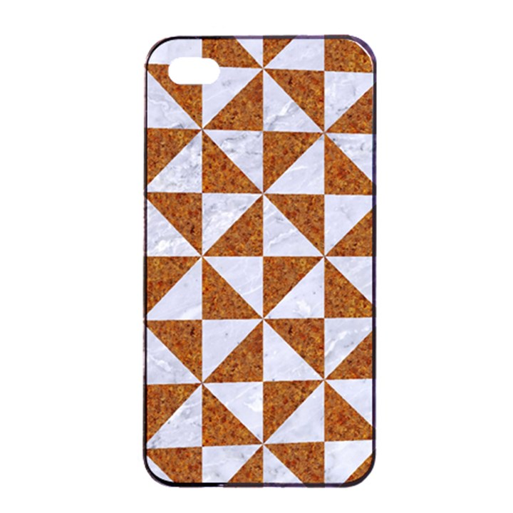 TRIANGLE1 WHITE MARBLE & RUSTED METAL Apple iPhone 4/4s Seamless Case (Black)