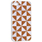 TRIANGLE1 WHITE MARBLE & RUSTED METAL Apple iPhone 4/4s Seamless Case (White) Front