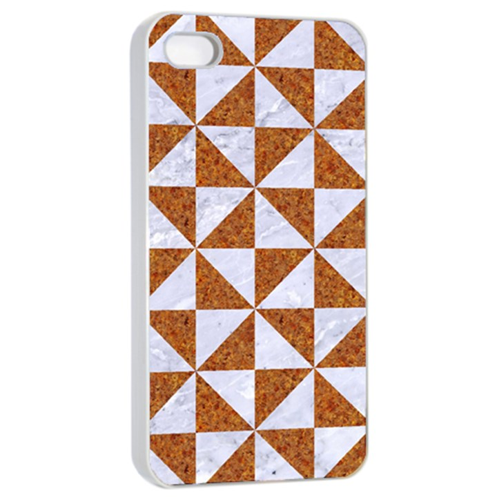 TRIANGLE1 WHITE MARBLE & RUSTED METAL Apple iPhone 4/4s Seamless Case (White)