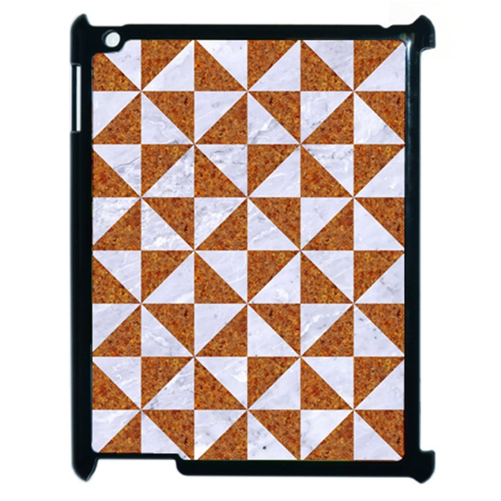 TRIANGLE1 WHITE MARBLE & RUSTED METAL Apple iPad 2 Case (Black)