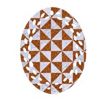 TRIANGLE1 WHITE MARBLE & RUSTED METAL Ornament (Oval Filigree) Front