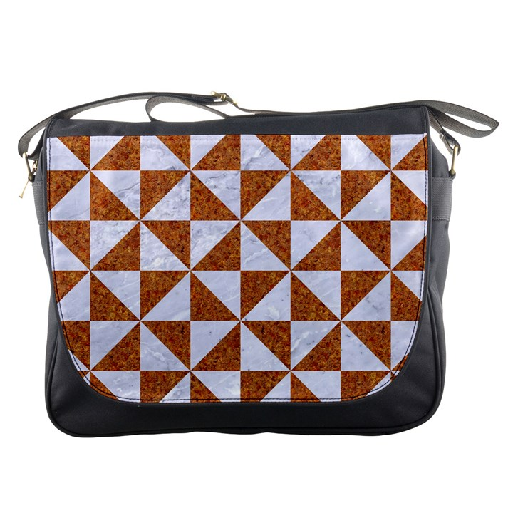 TRIANGLE1 WHITE MARBLE & RUSTED METAL Messenger Bags