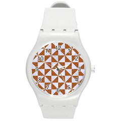 Triangle1 White Marble & Rusted Metal Round Plastic Sport Watch (m)