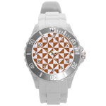 TRIANGLE1 WHITE MARBLE & RUSTED METAL Round Plastic Sport Watch (L) Front