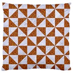 TRIANGLE1 WHITE MARBLE & RUSTED METAL Large Cushion Case (One Side) Front