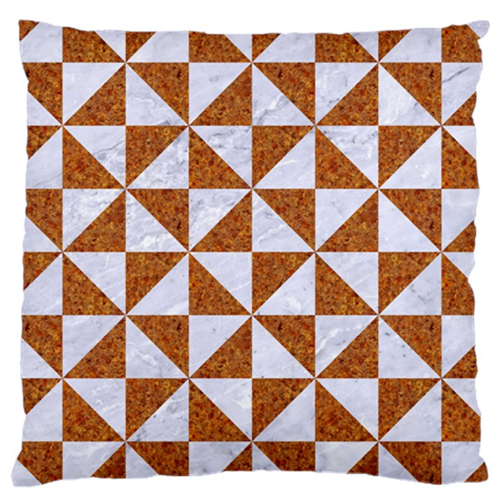TRIANGLE1 WHITE MARBLE & RUSTED METAL Large Cushion Case (One Side)