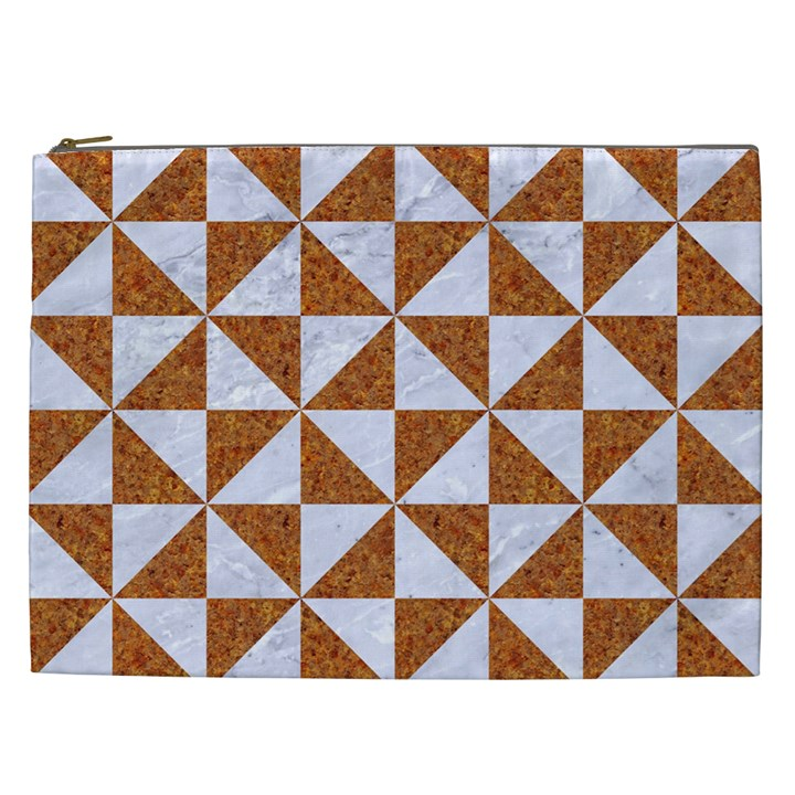 TRIANGLE1 WHITE MARBLE & RUSTED METAL Cosmetic Bag (XXL)