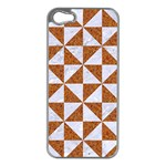 TRIANGLE1 WHITE MARBLE & RUSTED METAL Apple iPhone 5 Case (Silver) Front