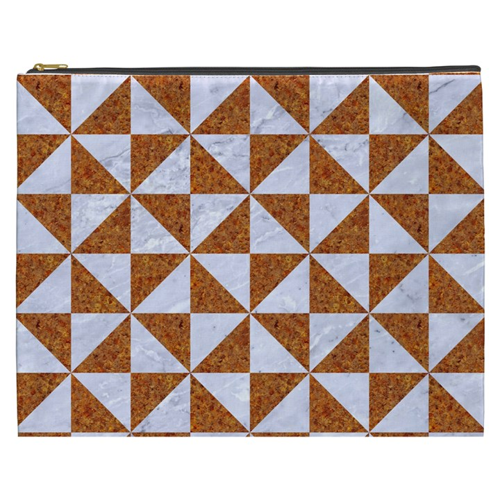 TRIANGLE1 WHITE MARBLE & RUSTED METAL Cosmetic Bag (XXXL)