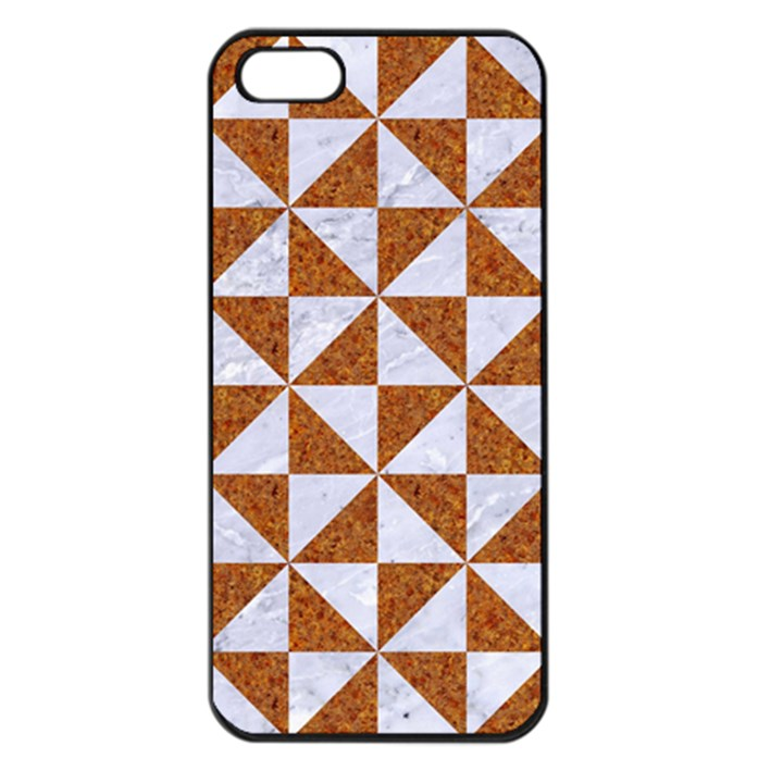 TRIANGLE1 WHITE MARBLE & RUSTED METAL Apple iPhone 5 Seamless Case (Black)