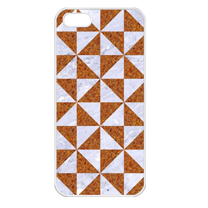 TRIANGLE1 WHITE MARBLE & RUSTED METAL Apple iPhone 5 Seamless Case (White)