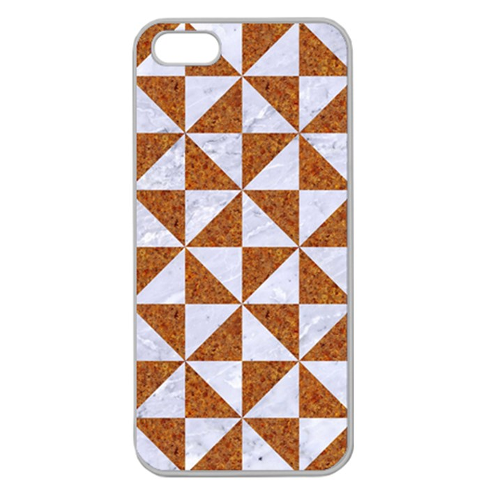 TRIANGLE1 WHITE MARBLE & RUSTED METAL Apple Seamless iPhone 5 Case (Clear)