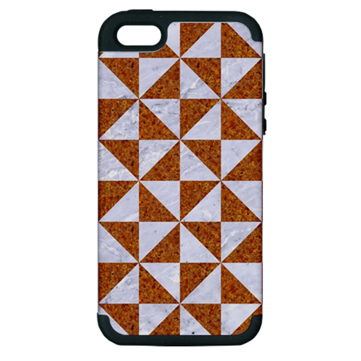 TRIANGLE1 WHITE MARBLE & RUSTED METAL Apple iPhone 5 Hardshell Case (PC+Silicone)