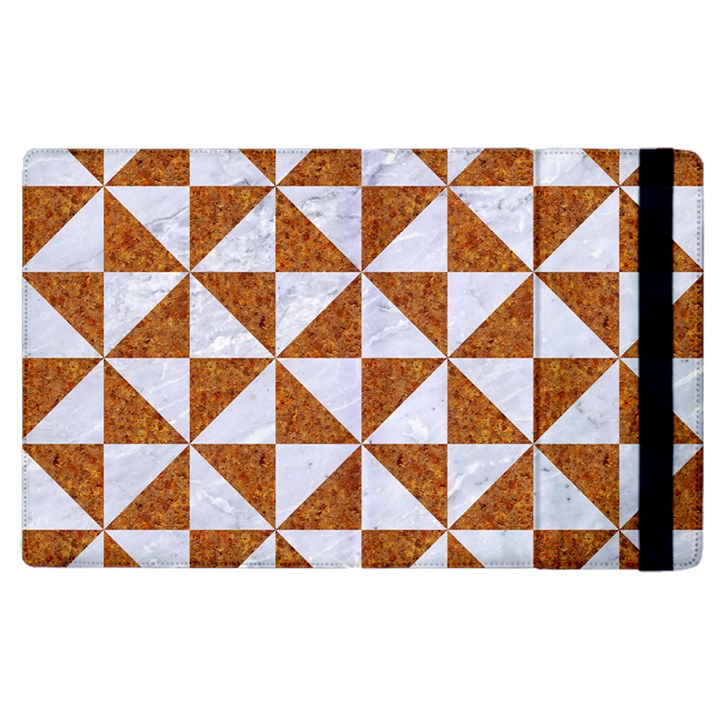 TRIANGLE1 WHITE MARBLE & RUSTED METAL Apple iPad 3/4 Flip Case