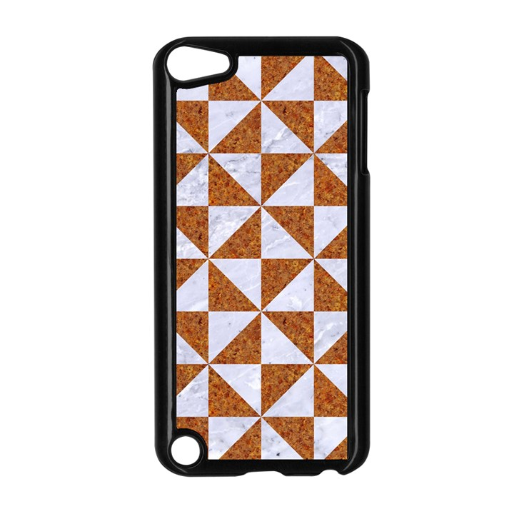 TRIANGLE1 WHITE MARBLE & RUSTED METAL Apple iPod Touch 5 Case (Black)