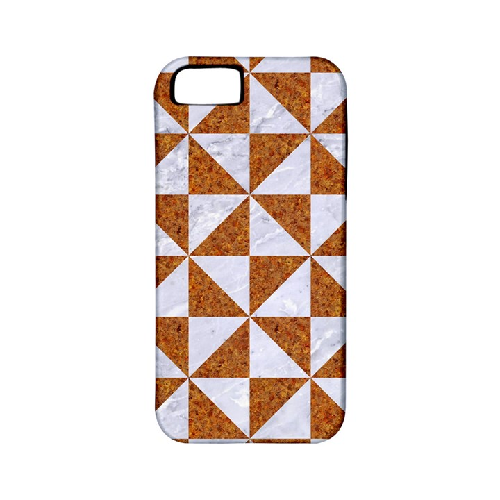 TRIANGLE1 WHITE MARBLE & RUSTED METAL Apple iPhone 5 Classic Hardshell Case (PC+Silicone)