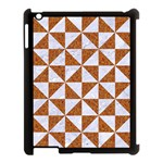 TRIANGLE1 WHITE MARBLE & RUSTED METAL Apple iPad 3/4 Case (Black) Front