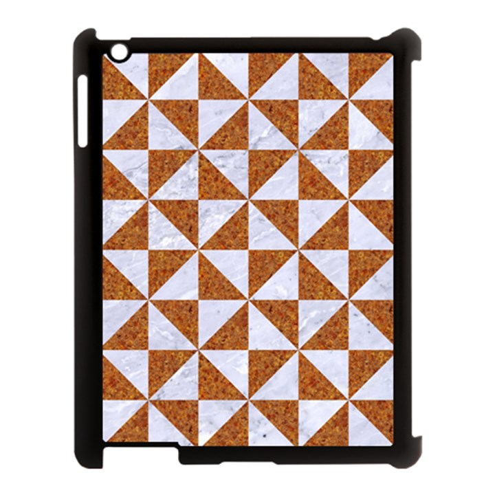 TRIANGLE1 WHITE MARBLE & RUSTED METAL Apple iPad 3/4 Case (Black)