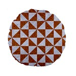TRIANGLE1 WHITE MARBLE & RUSTED METAL Standard 15  Premium Round Cushions Front