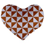 TRIANGLE1 WHITE MARBLE & RUSTED METAL Large 19  Premium Heart Shape Cushions Front