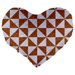 TRIANGLE1 WHITE MARBLE & RUSTED METAL Large 19  Premium Heart Shape Cushions Back