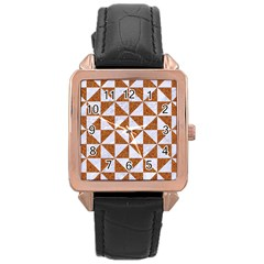 Triangle1 White Marble & Rusted Metal Rose Gold Leather Watch