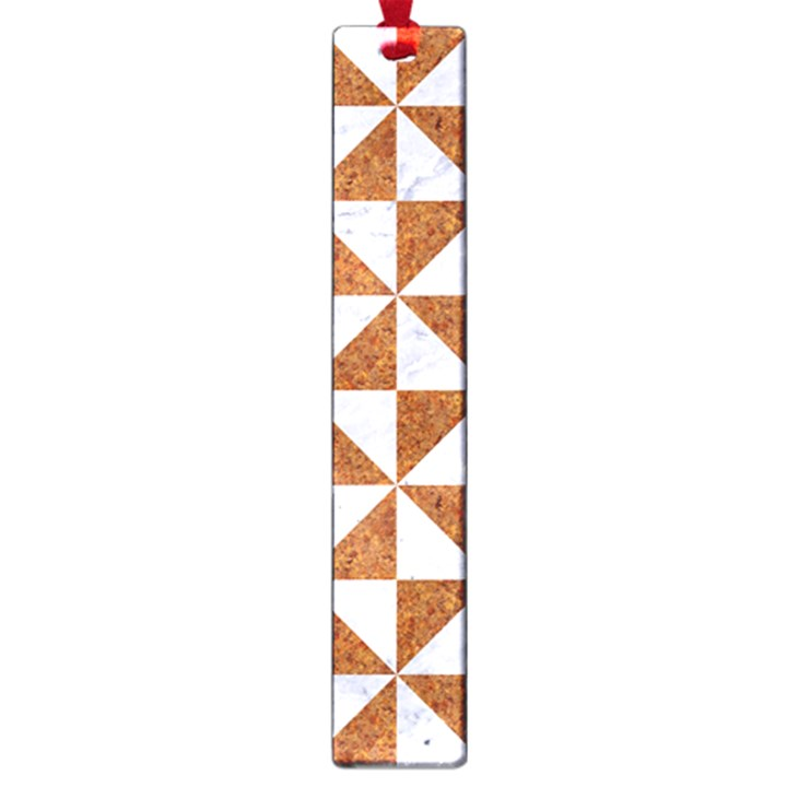 TRIANGLE1 WHITE MARBLE & RUSTED METAL Large Book Marks