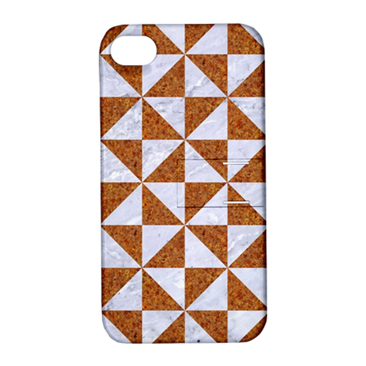 TRIANGLE1 WHITE MARBLE & RUSTED METAL Apple iPhone 4/4S Hardshell Case with Stand