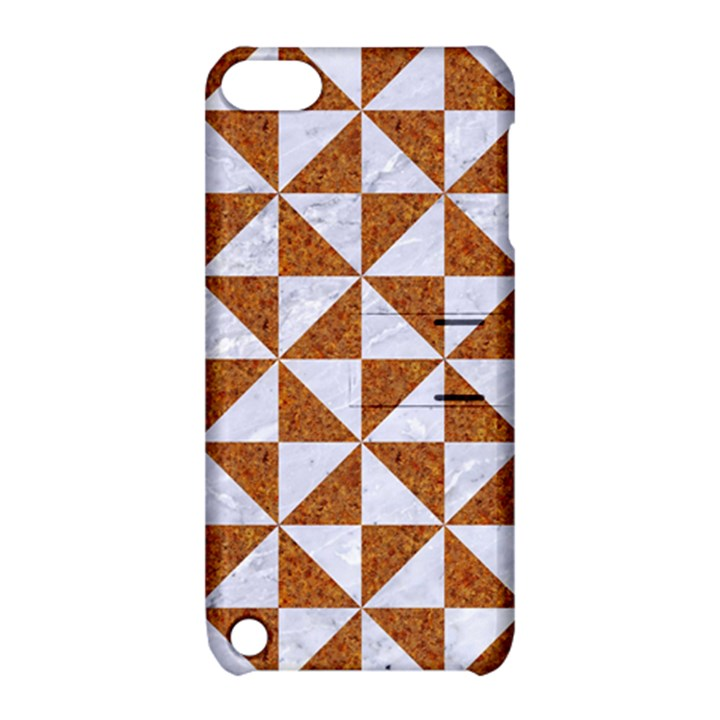 TRIANGLE1 WHITE MARBLE & RUSTED METAL Apple iPod Touch 5 Hardshell Case with Stand