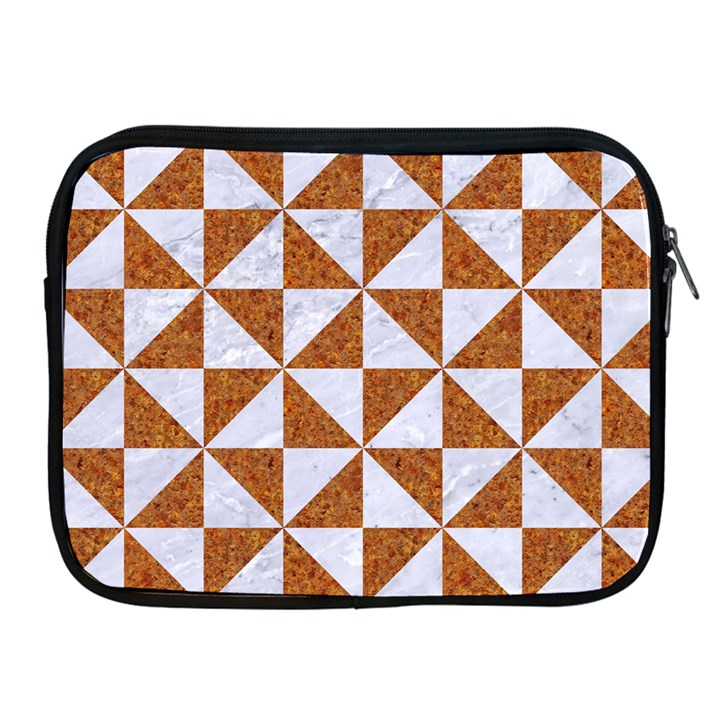 TRIANGLE1 WHITE MARBLE & RUSTED METAL Apple iPad 2/3/4 Zipper Cases