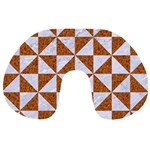 TRIANGLE1 WHITE MARBLE & RUSTED METAL Travel Neck Pillows Back