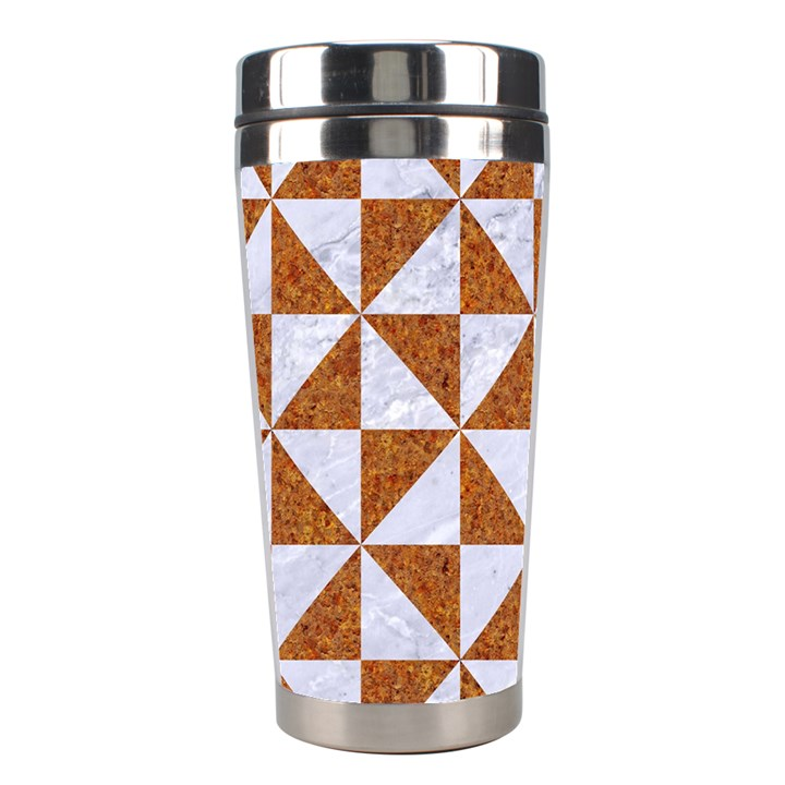 TRIANGLE1 WHITE MARBLE & RUSTED METAL Stainless Steel Travel Tumblers