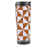 TRIANGLE1 WHITE MARBLE & RUSTED METAL Travel Tumbler Left