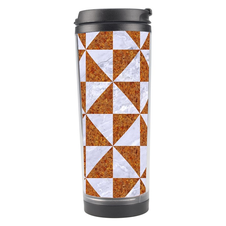 TRIANGLE1 WHITE MARBLE & RUSTED METAL Travel Tumbler