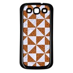 TRIANGLE1 WHITE MARBLE & RUSTED METAL Samsung Galaxy S3 Back Case (Black) Front