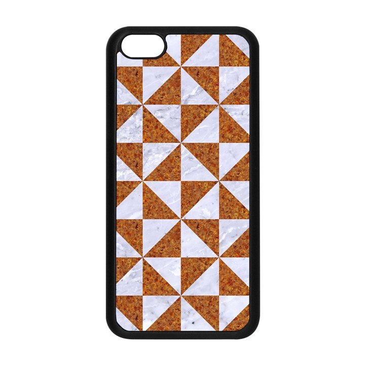 TRIANGLE1 WHITE MARBLE & RUSTED METAL Apple iPhone 5C Seamless Case (Black)