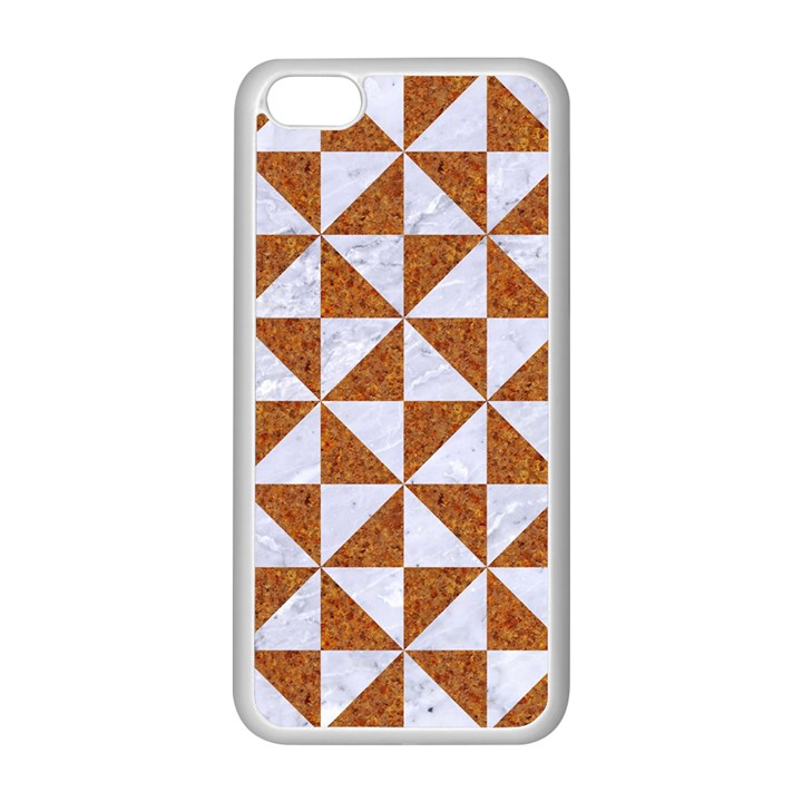 TRIANGLE1 WHITE MARBLE & RUSTED METAL Apple iPhone 5C Seamless Case (White)