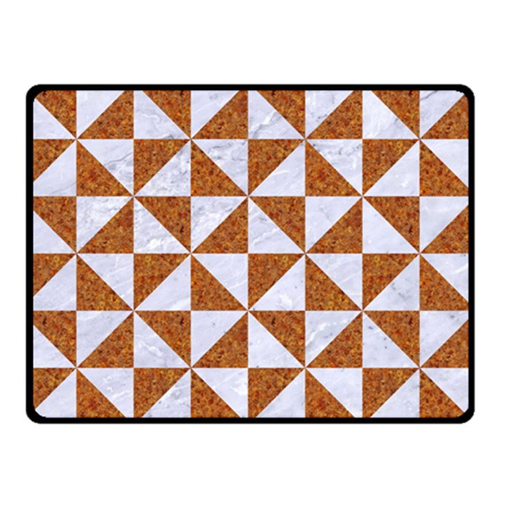 TRIANGLE1 WHITE MARBLE & RUSTED METAL Double Sided Fleece Blanket (Small)