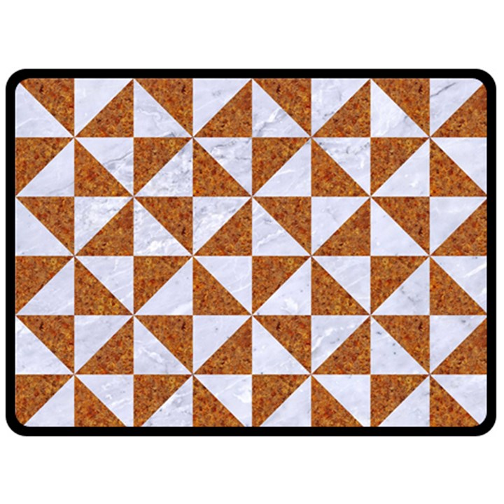 TRIANGLE1 WHITE MARBLE & RUSTED METAL Double Sided Fleece Blanket (Large)