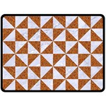 TRIANGLE1 WHITE MARBLE & RUSTED METAL Double Sided Fleece Blanket (Large)  80 x60 Blanket Back