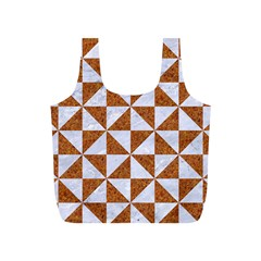 Triangle1 White Marble & Rusted Metal Full Print Recycle Bags (s)