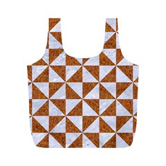 Triangle1 White Marble & Rusted Metal Full Print Recycle Bags (m)