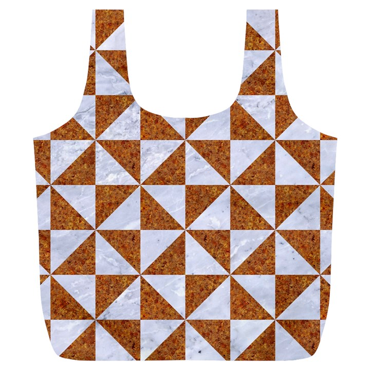TRIANGLE1 WHITE MARBLE & RUSTED METAL Full Print Recycle Bags (L)