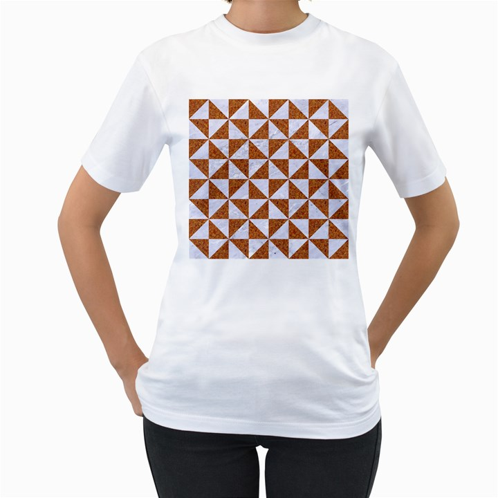 TRIANGLE1 WHITE MARBLE & RUSTED METAL Women s T-Shirt (White)